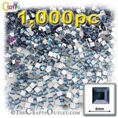 1000-pc Acrylic Flatback Square Rhinestones 4mm Light Baby Blue