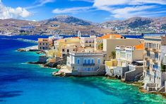 a large body of water with a city in the background: Syros island, Greece Greek Island Tours, Greek Islands To Visit, Best Greek Islands, Greece Destinations, Travel Destinations, Syros Greece, Greece With Kids, Sailing Trips, Island Beach