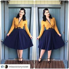 @missvictoryviolet sure knows how to put together a stunning outfit. We couldnt have matched the Miss c Odette dress better!  Beautiful, beautiful, beautiful!  #misscandyfloss #swingdress #40s #1940s #retrofashion #retro #navy #dress #rockabella #retrofashion