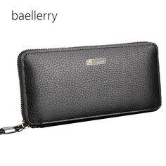 Sostenedores del teléfono Pu Leather Men Wallets Business Brand Card holder Coin Purse Men's Long Zipper Wallet Leather Clutch carteira masculina * Los detalles sobre el producto se pueden ver haciendo clic en el botón VISITAR
