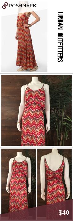 Ecoté Maxi Dress Amazing Chevron print Maxi dress, with open back detail, and fabric over hang at bodice. A Labor Day must have! Urban Outfitters Dresses Maxi