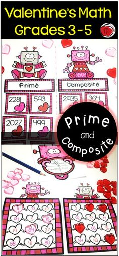Engaging Math centers that will have your students excited about practicing their understanding of prime and composite numbers. Perfect for Valentine's Day. Mystery number pictures, color by number, spin and cover, sorts, and more! Created by TchrBrowne / Prime And Composite Numbers, Teaching Activities, Teaching Resources, Teaching Ideas, Activity Centers, Math Centers, Third Grade, Fourth Grade