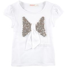 Cotton and polyester jersey Crew neck Short sleeves Gathered armholes Fancy bow Fancy sequins - $ 25