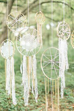 Boho Outdoor Hochzeit - Traumfänger mit Spitze