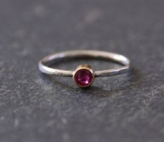 Ruby Ring in Silver and 14k Gold