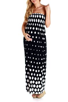 Black White Polka Dot Maternity Maxi Dress