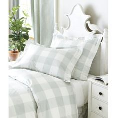 M's room: I think this is too green for chest, but concept is darling.  Gwyneth Buffalo Check Bedding