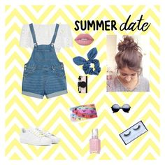 """SUMMER DATE"" by k-g-s on Polyvore featuring Miguelina, Monki, Dorothy Perkins, Kate Spade, Lime Crime, Huda Beauty, Essie, adidas, statefair and summerdate"
