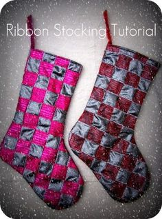 DIY Basket Weave Ribbon Christmas Stockings! https://www.retailpackaging.com/categories/74-everyday-specialty-ribbon #crafts #holidays #decor