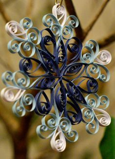 Handmade Quilled Blue Snowflake Christmas Ornament or Decoration on Etsy, $7.00