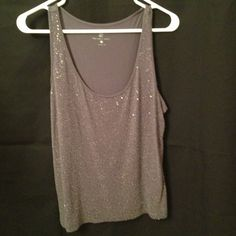 """Selling this """"Grey tank with beaded details on front"""" in my Poshmark closet! My username is: melissam83. #shopmycloset #poshmark #fashion #shopping #style #forsale #Tops"""