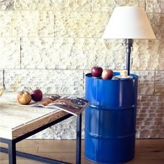 The perfect supplement to your industrial scheme, this stunning upcycled floor lamp features a colourful barrel and steel piping design. Match it with painted bricks, a worn chesterfield and rustic wooden table for a trendy living room look. Rustic Wooden Table, Barrel Table, Table Top Lamps, Lamp, Pendant Lamp, Wooden Tables, Trendy Living Rooms, Original Designs, Home Decor