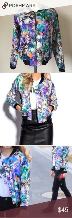 Bomber Jacket by Kingdom and State Bomber Jacket • Floral Print • Worn once • In good condition • Size 6 Jackets & Coats