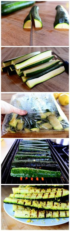Grilled Zucchini With Yummy Lemon Salt ~ Grilled veggies are so good for any BBQ party, they are healthy and full of amazing flavours.