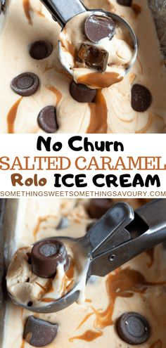 It couldn't be easier to make this No-churn Salted Caramel Rolo Ice Cream. You just need five ingredients and 10 minutes of your time! No ice cream maker required. Recipe To Make Chocolate, Chocolate Desserts, Homemade Chocolate, Kitchenaid Ice Cream Maker, Fresco, Easy Homemade Ice Cream, Salted Caramel Ice Cream, Frozen Desserts, Homemade Desserts