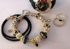 Pandora gold and black Black Pandora Bracelet, Pandora Gold, Pandora Bracelet Charms, Pandora Jewelry, Gold Jewelry For Sale, Buy Gold Jewellery Online, Black Gold Jewelry, Diy Jewelry, Pandora Collection