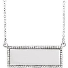 1/6 CT. T.W. Diamond Bar Necklace in 14K White Gold