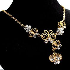 Golden Butterfly Flower Crystal with Shiny Gold Plating Necklace Set NS1976A