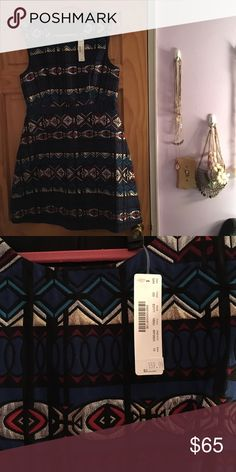 J. Crew dress Geographic pattern J. Crew dress with silver details. Tags attached, never worn!! J. Crew Dresses Midi