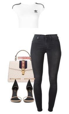 """"" by sadgirllmaya ❤ liked on Polyvore featuring Gucci, adidas Originals, 7 For All Mankind and Yves Saint Laurent"