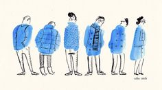 Illustration / Bus Stop People. Warm up doodle today: Make random ink blobs; draw something to it. It s a bit like looking for shapes in clouds.