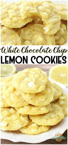 CHOCOLATE CHIP LEMON COOKIES - White Chocolate Chip Lemon Cookies are soft, chewy and perfectly sweet lemon cookies! White chocolate chips & lemon pudding mix add great flavor and texture to these delicious spring cookies. from Family Cookie Recipes Fun Baking Recipes, Easy Cookie Recipes, Lemon Recipes, Sweet Recipes, Lemon Pudding Recipes, Lemon Dessert Recipes, Summer Recipes, Fun Desserts, Delicious Desserts