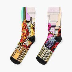 Promote | Redbubble Patterned Socks, Designer Socks, Crew Socks, Chiffon Tops, Looks Great, Knitting, Heels, Stuff To Buy, Women
