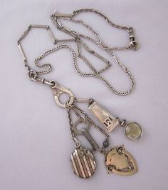 SOLD - Antique Repurposed Watch Chain and Victorian Locket Charm Necklace - One of a Kind Jewelry Designs by JryenDesigns