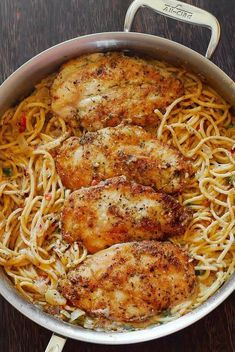 INGREDIENTS: For cooking chicken: 4boneless skinless chicken breastspaper towel dried 1/2cupflour 1teaspoonsalt ¼teaspoonblack pepper 1teaspoongarlic powder 2teaspoonsItalian seasoning 2tablespoonsolive oil Pasta: 12ozof spaghetti White Wine Parmesan Sauce: 4tablespoonsbutter 1yellow onionchopped 4garlic clovesminced 2scallionschopped 2small tomatoesdiced 1tablespoonflour 1cupheavy cream 1cupwhite wine ½cupParmesan cheeseshredded 1teaspoonItalian Seas...