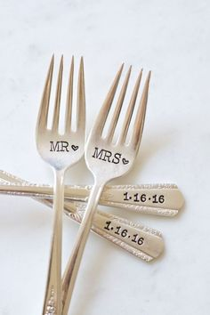 Wedding Gifts For Bride And Groom Mr. and Mrs. Fork Set for the Bride and Groom. Hand Stamped with wedding date. Customized for your wedding day. Wedding Gifts For Bride And Groom, The Bride, Wedding Day, Gift Wedding, Groom Gifts, Space Wedding, Wedding Couples, Wedding Signs, Bride Groom