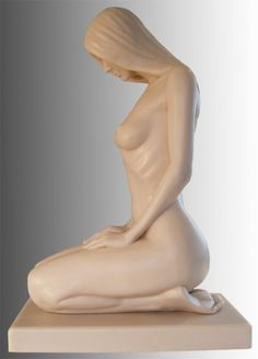 Bonded Onyx #sculpture by #sculptor Peter Moulton titled: 'Patience (Little Lovely Girl Kneeling Naked Waiting statues/statuette)'. #PeterMoulton