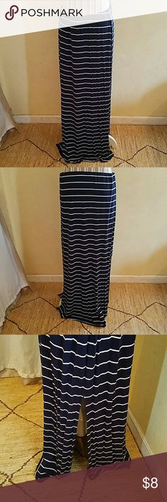 Old Navy sz L Old Navy Blue long skirt with white stripes. Very stretchy and flowy. Used but in excellent condition. Old Navy Skirts