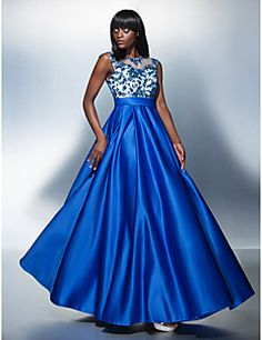 TS+Couture®+Formal+Evening+Dress+Plus+Size+/+Petite+A-line+Jewel+Floor-length+Tulle+/+Charmeuse+with+Appliques+–+USD+$+315.00