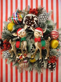 I love this combination of vintage items picked into this wreath. Different! I am currently saving less than perfect vintage Christmas from my store inventory to make up wreaths.