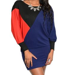 Sweaterdress with boat neckline, dolman long sleeves and color block design.