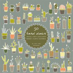 50 disegnati a mano Cactus Digital ClipArt  piante di idadrawing