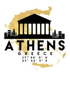 ATHENS GREECE SILHOUETTE SKYLINE MAP ART -  The beautiful silhouette skyline of Athens and the great map of Greece in gold, with the exact coordinates of Athens make up this amazing art piece. A great gift for anybody that has love for this city.  athens greece downtown silhouette skyline map coordinates souvenir gold deificus art
