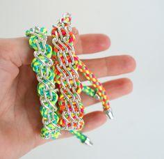 DIY woven chain bracelets