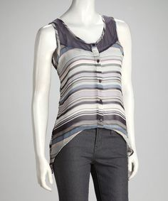 Take a look at this Gray & Blue Stripe Chiffon Hi-Low Button-Up Top by Tea & Cup on #zulily today!
