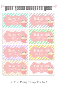 Digital Freebies: Baked with love Cupcake Tags! - Free Pretty Things For You