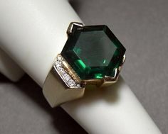 14k Yellow Gold Russian Chrome Diopside and Diamond Ring 14ctw 6.7grams Size 7