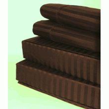 T600 Queen Size Stripe Egyptian Cotton Sheet Set - Chocolate