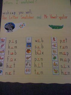 mr vowelgator has to help the kids find the letter (vowel) the letter snatcher… Kindergarten Reading Activities, Kindergarten Freebies, Phonics Activities, Kindergarten Rocks, Short Vowels, Classroom Language, School Fun, School Ideas, Word Work