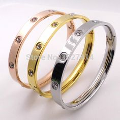 Promotion Stainless Steel Love Bracelet For Women Men Wristband Rose Gold  Cuff 2016 Love Bangle Luxury Crystal Carter Bangle