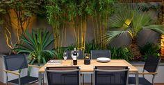 Decor of Contemporary Garden Decor Outdoor Bamboo Plants For Small Garden Design Using Modern - Simple design could make a remarkable adjustment on the who Terrace Garden Design, Tropical Garden Design, Small Garden Design, Balcony Garden, Rooftop Design, Tropical Gardens, Tropical Plants, Tropical Backyard, Corner Garden