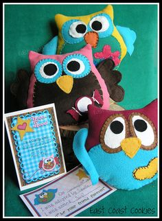 These are the large stuffed Owls that my daughter and I made to go with the 'Sleep-over' portion of her birthday party -- or her 'Night Owl' party as she called it! She did all the handstitching, and stuffing (remember - she's 10!), and I sewed them together.  This is 3 of the 6 we eventually made.    I bought the super cute pattern and adoption cards from Snowy Bliss on etsy:  www.etsy.com/...