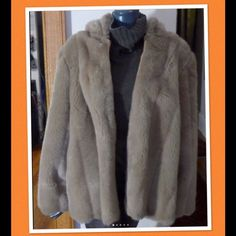 "Vintage Faux Fur Coat Jacket c. 50's 60's For your consideration a pretty ladies vintage fur hooded jacket. Jacket has beige leather lined front zipper (right side w ring detail), orange nylon lining, hip pockets & large hood. Jacket is well made and is circa 50's-60's. No label maybe custom made garment. Jacket does have tag marked ""Int. Ladies Garment Union USA & measures:  24"" armpit to armpit, 28"" shoulder to hem & 17"" armpit to cuff. Hood is approximately 15.5"" high & 11"" deep. Message…"