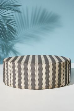 Suren-Striped Clive Ottoman by Anthropologie in Black Size: Large, Benches + Ottomans