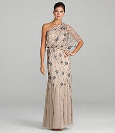 Adrianna Papell Beaded OneShoulder Gown #Dillards-- This is pretty and different