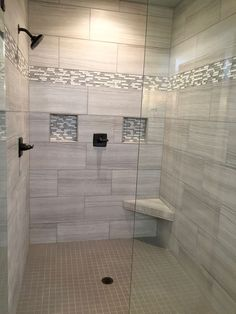 Decorative Tile Border In Shower Oversized Marble Shower With Bench  Showers  Pinterest  Marbles